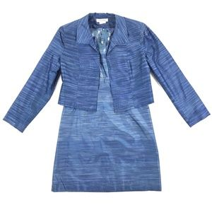 Kay Unger Blue Silk Dress Suit w/ Cropped Jacket